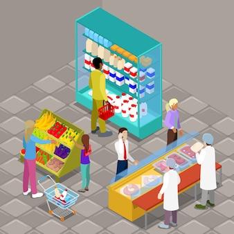Isometrische supermarkt interieur met kopers en producten.