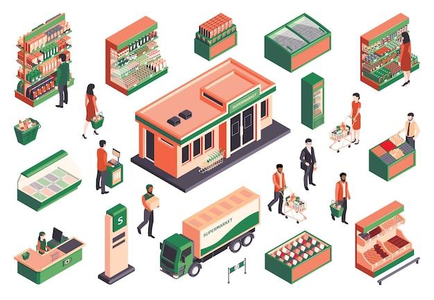 Isometrische supermarkt mensen set van geïsoleerde s menselijke karakters