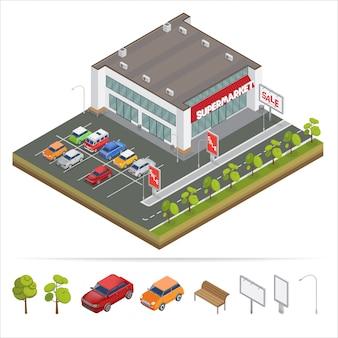 Isometrische supermarkt met parkeerplaats. winkelcentrum.