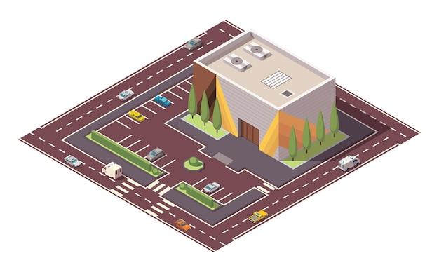 Isometrische supermarkt of supermarkt gebouw en straat. vector isometrisch pictogram of infographic element dat winkelcentrum gebouw met parkeerplaats vertegenwoordigt. 3d-winkelmarkt voor stadsinfrastructuur