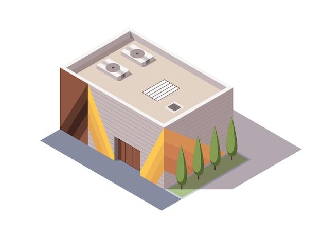 Isometrische supermarkt of supermarkt gebouw. isometrisch pictogram of infographic element
