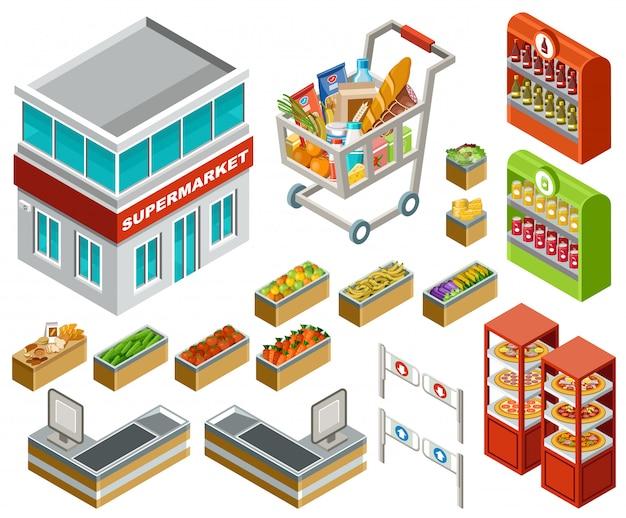 Isometrische supermarkt