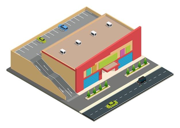 Isometrische supermarktgebouw met parkeerplaats.