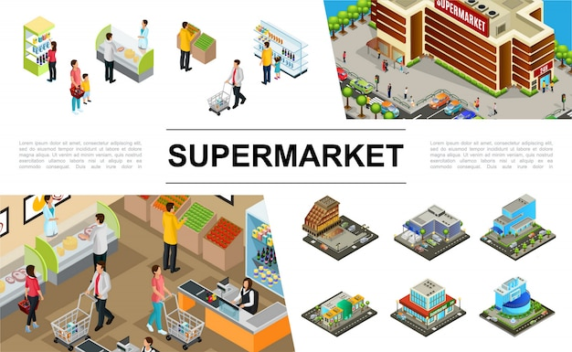 Isometrische supermarktsamenstelling met de buitenkant van winkelcomplexgebouwen die auto'smensen parkeren die verschillende producten kopen
