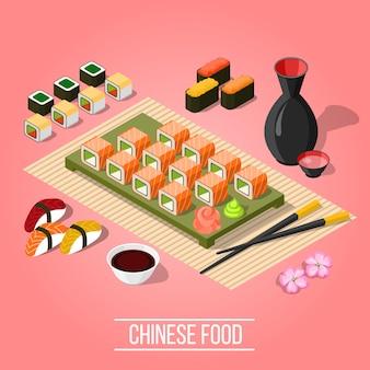 Isometrische sushi bar