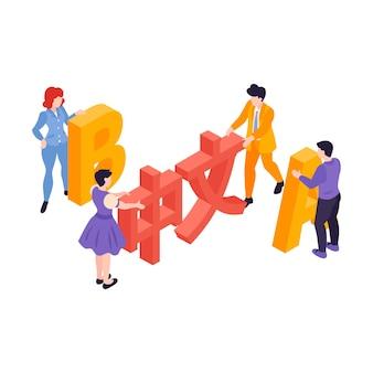 Isometrische taalcentrum cursussen samenstelling met kleine mensen bewegende letters van verschillende talen illustratie