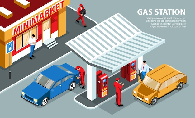 Isometrische tankstationkaart