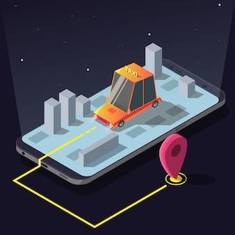 Isometrische taxi auto bestelling service app, gele cabine