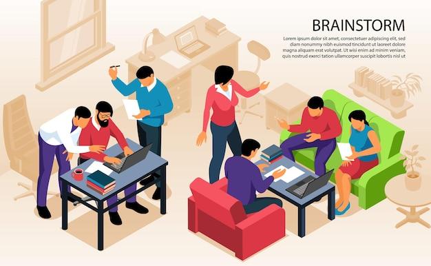 Isometrische teamwerk brainstormen kaart