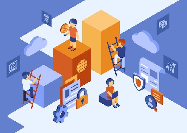 Isometrische teamwerk mensen zakelijke infographics