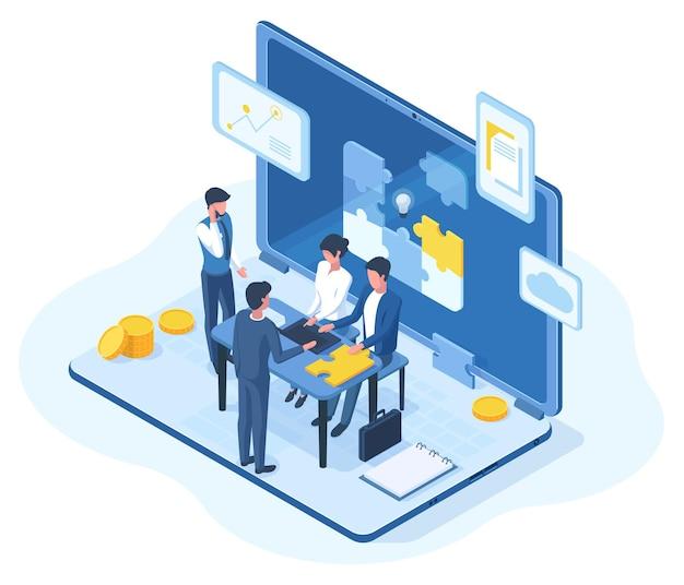 Isometrische teamwork, brainstormen teamvergadering 3d concept. mensen creatieve business team brainstormen vectorillustratie. tekens voor teamwerk op kantoor
