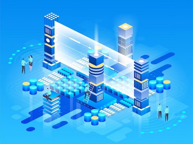 Isometrische technologie concept. database netwerkbeheer. big data-verwerking