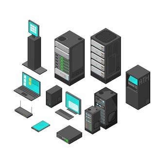 Isometrische technologie en bankwezenpictogrammen. platte vectorillustratie computer en laptop met systeemhardwarevoorzien van een netwerk