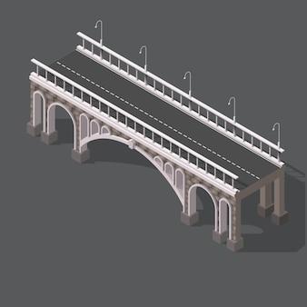 Isometrische tekening van een stenen brug