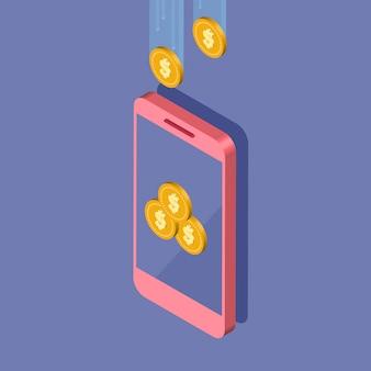 Isometrische telefoon contant geld terug op het scherm. gouden munten in smartphone, geldbeweging. cashback of geldteruggave. illustratie.
