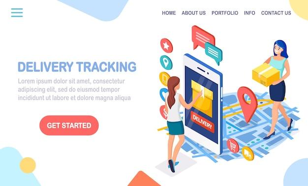 Isometrische telefoon met bezorgservice-app en vrouw met kartonnen doos