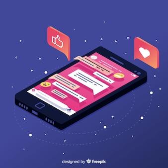Isometrische telefoon met kleurrijke chat-concept