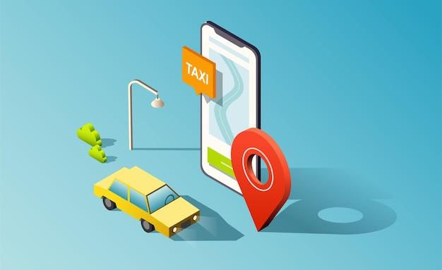 Isometrische telefoon met weg-, taxiauto en rode locatiepin.