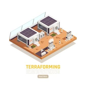 Isometrische terraforming illustratie