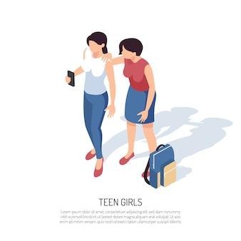 Isometrische tienersamenstelling met menselijke karakters van twee tienermeisjes met smartphonerugzak en tekst