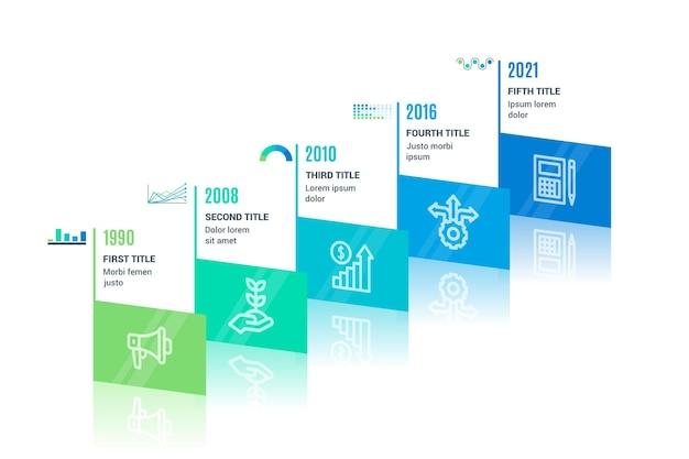 Isometrische tijdlijn infographic sjabloon