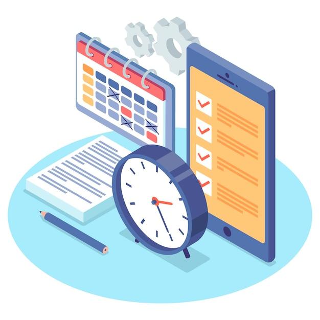 Isometrische time management concept geïllustreerd