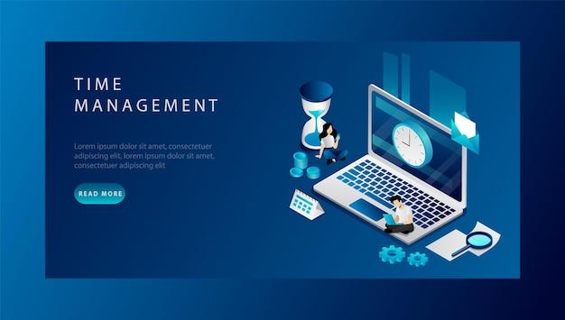Isometrische time management concept. website bestemmingspagina. mensen uit het bedrijfsleven plannen hun werktijd. man en vrouw doen hun werk op tijd na deadlines. webpagina cartoon vectorillustratie.