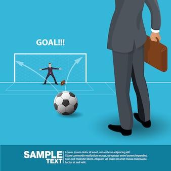 Isometrische toekomstige bedrijfsleider concept business man stand op voetbalveld. vectorillustratie.