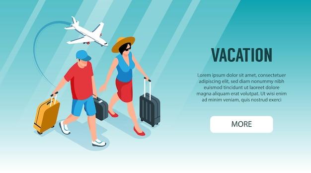 Isometrische toeristenbureau horizontale banner met meer knop en karakters van toeristen met koffers