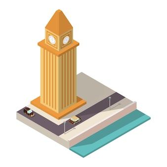 Isometrische toren met uren staan op de dijk en de weg met auto's.