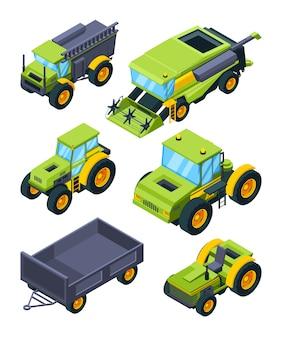 Isometrische tractor en andere verschillende landbouwmachines