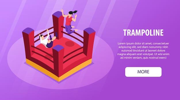 Isometrische trampoline horizontale banner met afbeeldingen van springende kinderen springkussen bewerkbare tekst en meer knop vectorillustratie