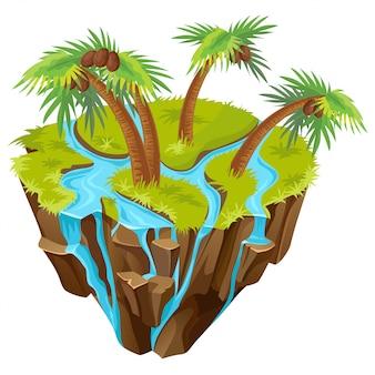 Isometrische tropisch eiland met palmen