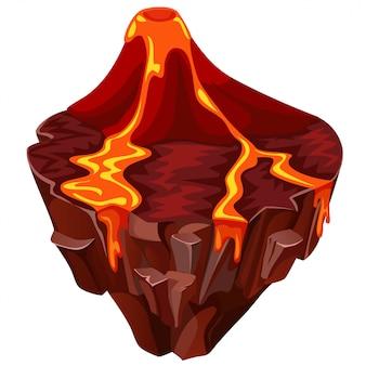 Isometrische tropisch eiland met vulkaan.