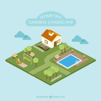 Isometrische tuinlandschap plat ontwerp