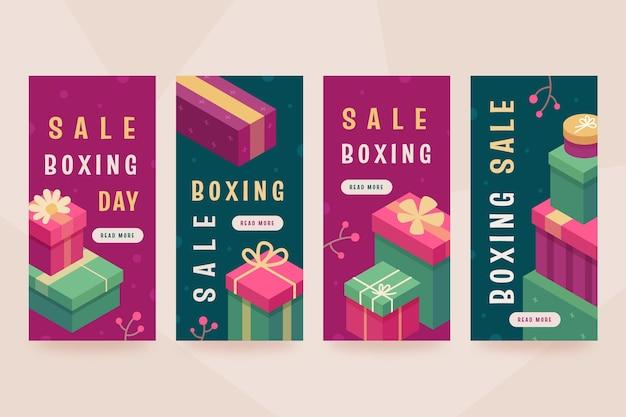 Isometrische tweede kerstdag verkoop instagram verhalencollectie