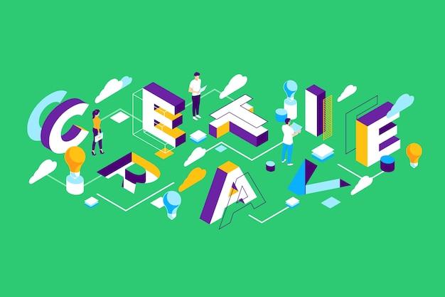 Isometrische typografie bericht creatief