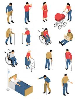 Isometrische uitschakelen mensen set van geïsoleerde kleurrijke afbeeldingen met menselijke karakters van mensen met beperkte mobiliteit
