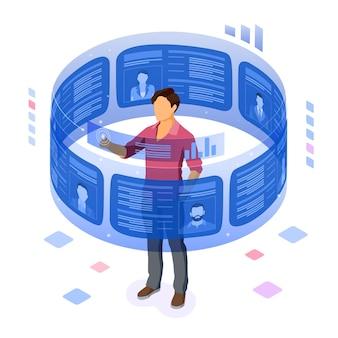 Isometrische uitzendbureau werkgelegenheid, human resources, cv en aanwervingsconcept.
