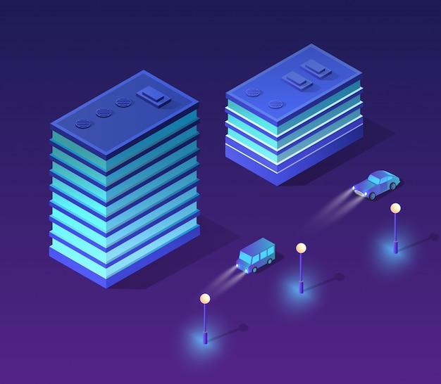 Isometrische ultraviolette stad