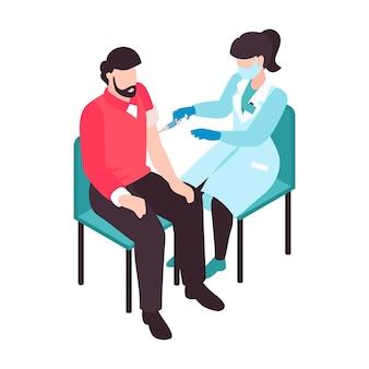 Isometrische vaccinatiekleursamenstelling met mannelijk karakter dat wordt gevaccineerd door vrouwelijke arts