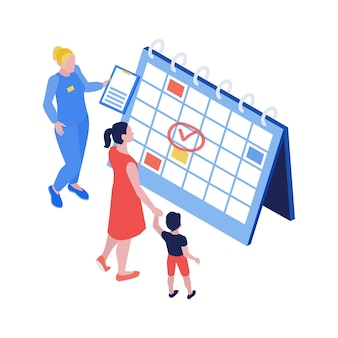 Isometrische vaccinatiesamenstelling met desktopkalender en karakters van moederkind en medisch specialistische illustratie