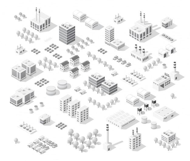 Isometrische vastgestelde stad met wolkenkrabbers