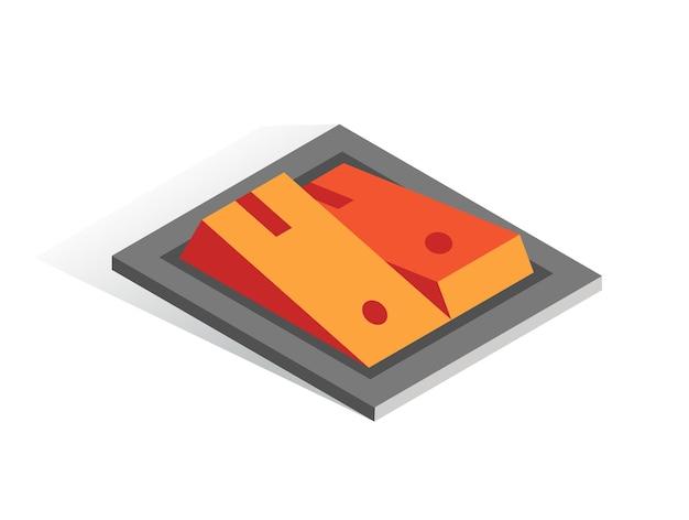 Isometrische vector knop.