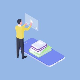 Isometrische vector ontwerp van de moderne man met stapel boeken op mobiele telefoon kijken naar video online terwijl hij onderwijs op afstand