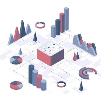 Isometrische vectorillustratie. concept van data-analyse, informatieverzameling, opmaak van grafieken en diagrammen. bedrijfsstatistieken