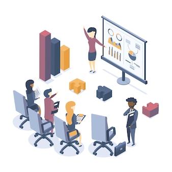 Isometrische vectorillustratie. het concept van bedrijfsopleiding. bedrijfstrainingen. seminar voor medewerkers. analyse van statistieken. briefing.