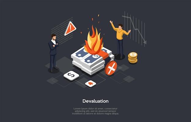 Isometrische vectorillustratie in cartoon 3d-stijl. samenstelling op donkere achtergrond met infographics. financiële devaluatie, economische problemen, bedrijfsfaillissement concept. twee karakters staan.