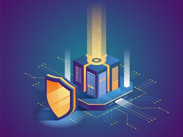 Isometrische vectorillustratie van digitaal beschermingsmechanisme, systeemprivacy. gegevens veilig. webcriminaliteit of virusaanval. symbool van bescherming. hacken-concept.