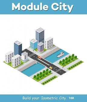 Isometrische vectorillustratie van een moderne stad